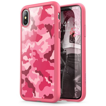 iPhone X Case, [Armorbox] i-Blason built in [Screen Protector] [Full body] [Heavy Duty Protection] [Kickstand],Iphone X, Camo Pink
