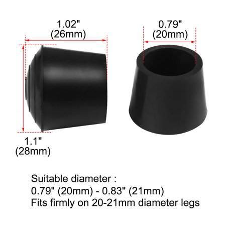 "Rubber Leg Cap Tip Cup Feet Cover 20mm 3/4"" Inner Dia 4pcs for Furniture Chair - image 1 of 7"
