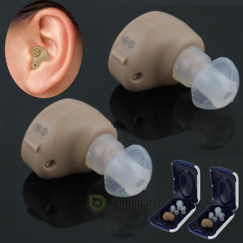 2 x In The Ear Adjustable Invisible Small Hearing Aids Best Sound Amplifier Tone