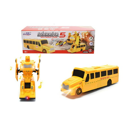 2 in 1 Transform School Bus With Liht/Music Super Enhanced Version Car Warrior Toys Yellow (Toys That Transform)