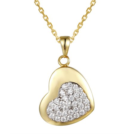 14K Gold Finish Mini Heart Pendant Cluster Solitaire Simulated Diamond Free Chain