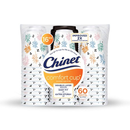 Pack of 2 Chinet three layers of Superior insulation Comfort Cup 16 oz. Hot Cups & Lids (60 ct.) (16 Oz Cup)