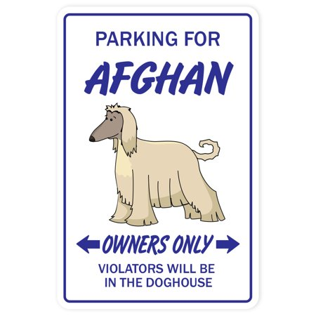 AFGHAN HOUND Aluminum Sign dog pet parking Aluminum Signs dogs groomer puppy pup | Indoor/Outdoor | 14