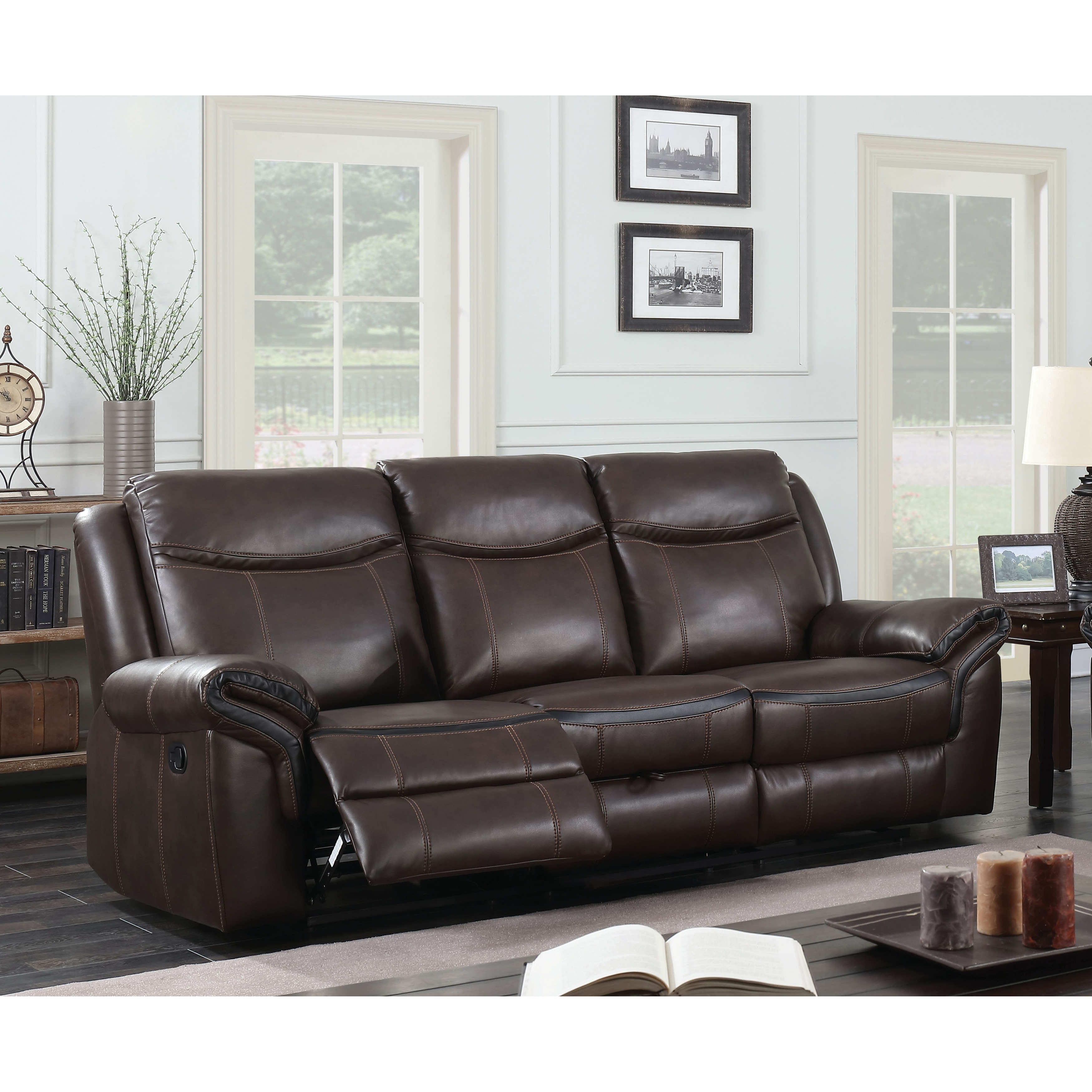 Furniture Of America Jefferson Transitional Brown Leather