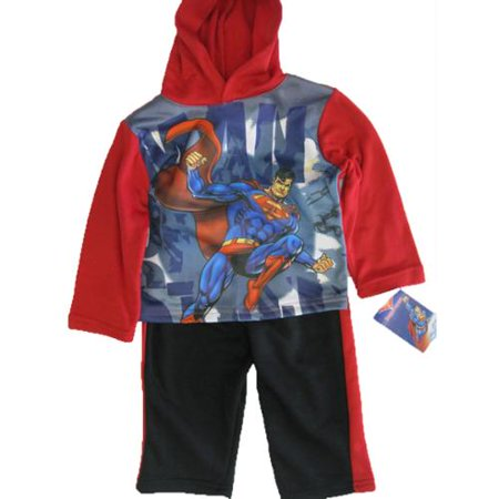 s Baby Boys Red Blue Superman Print Hooded Top Pants Outfit 12-24M (Boys Superman Outfit)