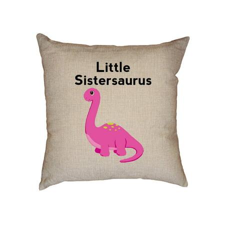 (Pink Little Sistersaurus - Cute Little Sister Dinosaur Decorative Linen Throw Cushion Pillow Case with Insert)