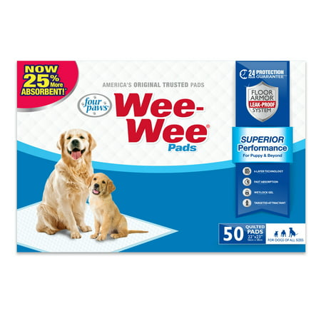 Four Paws Wee-Wee Dog Training Pads, 22 in x 23 in, 50 Count