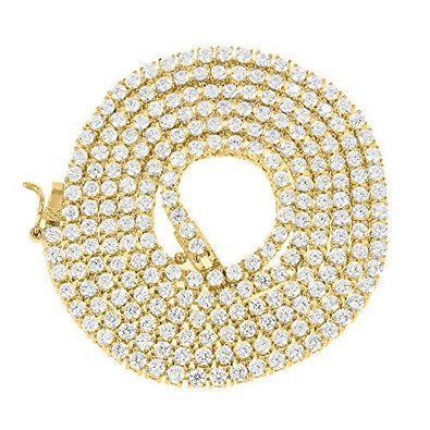 2 Tone Chain Necklace Lab Diamond With 14k Yellow Gold Finish For Men Eligant