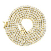 2 Tone Chain Necklace Lab Created Cubic Zirconia With 14k Yellow Gold Finish For Men Eligant