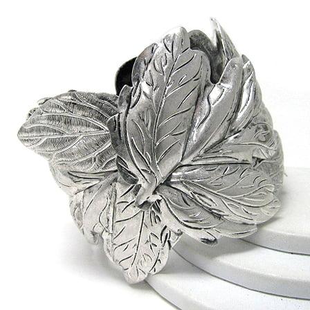 (Frozen Leaves of Winter Antiqued Silvertone Cuff Bracelet 7
