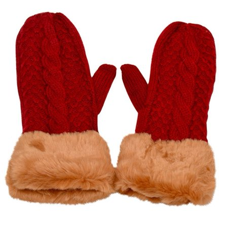 Gold Medal Girls Red Cable Knit Faux Fur Cuff Trim Winter Gloves