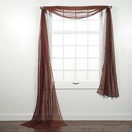1 PC SOLID BROWN SCARF VALANCE SOFT SHEER VOILE WINDOW PANEL CURTAIN 216