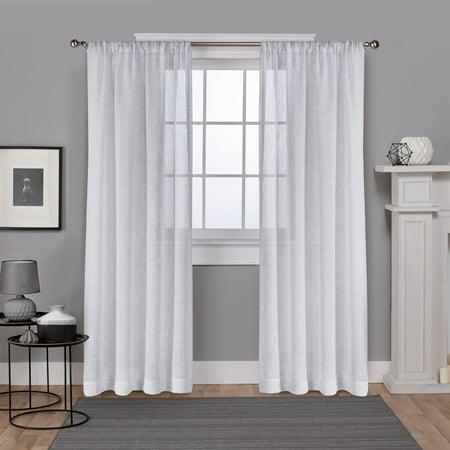 Metallic Pocket - Exclusive Home Curtains 2 Pack Foil Belgian Metallic Linen Sheer Rod Pocket Curtain Panels