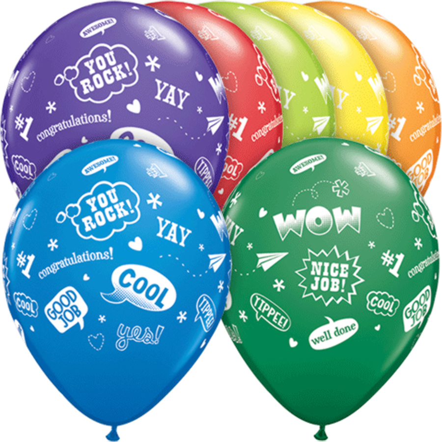 "Qualatex Congrats Messages 11"" Latex Balloons, Assorted, 50 Pack"