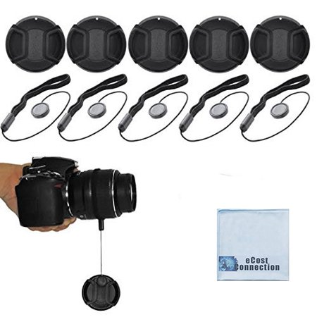 eCostConnection 62mm Pro Series 5 Snap On Lens Caps and 5 Lens Cap Keepers For Canon, Nikon, Pentax, Fujifilm, Sony, Panasonic, Olympus & More Models (62mm Lens Cap)