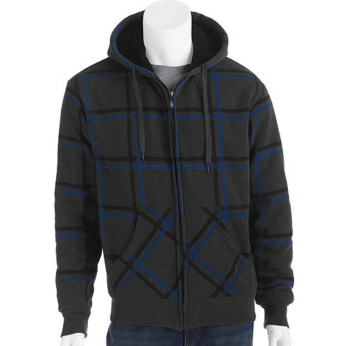 Men's Printed Plaid Fleece Jacket with Sherpa Lining