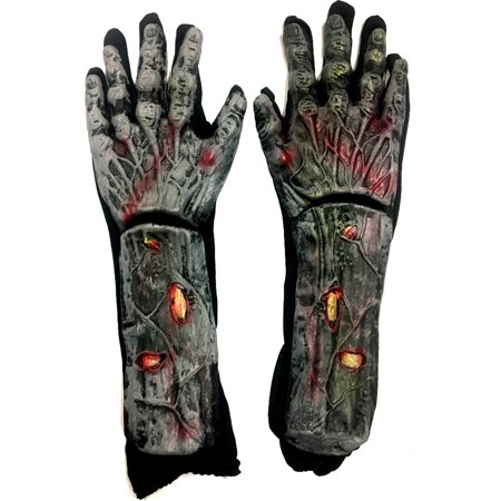 Zombie Flesh Makeup (Adults Undead Zombie Exposed Rotted Flesh Gloves Costume)