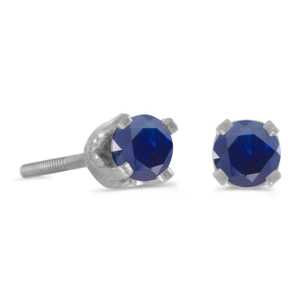 14k Petite White Gold Round Sapphire Children's Screw-back Stud Earrings