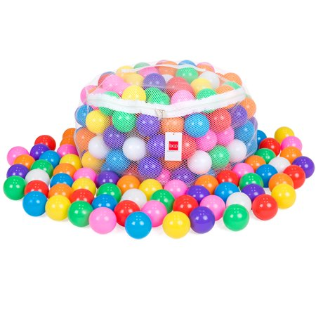 Best Choice Products Pack of 200 Kids BPA-Free Soft Plastic Pit Balls w/ 8 Colors, Zipper Mesh Storage Bag - Multicolor (Plastic Balls For Sale)