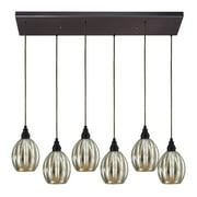 Danica 6-Light Rectangular Pendant Fixture in Oiled Bronze with Mercury Glass