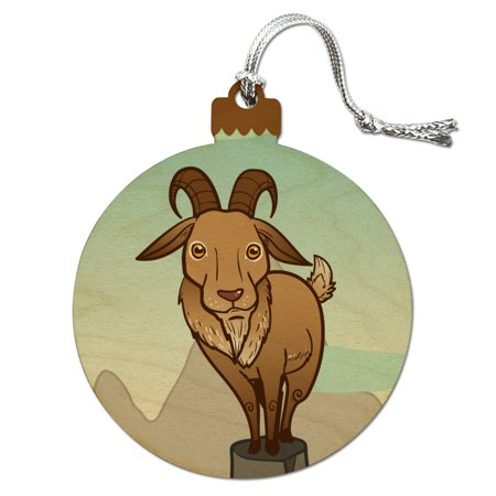 Goat On Mountain Top Wood Christmas Tree Holiday (Goat Ornaments)