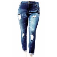 65418755c672 Product Image Jack David Women's Plus Size Ripped Destroy Blue Denim Roll  up Distressed Jeans Pants