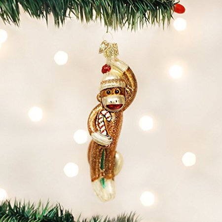 Old World Christmas Sock Monkey Glass Ornament 44070 Decoration Toy FREE BOX New