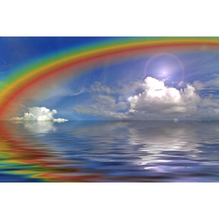 Wallmonkeys Clouds Sky and Rainbow in the Ocean Peel and Stick Wall Decals Mural WM275096 (36 in W x 24 in H) (Ocean Murals)