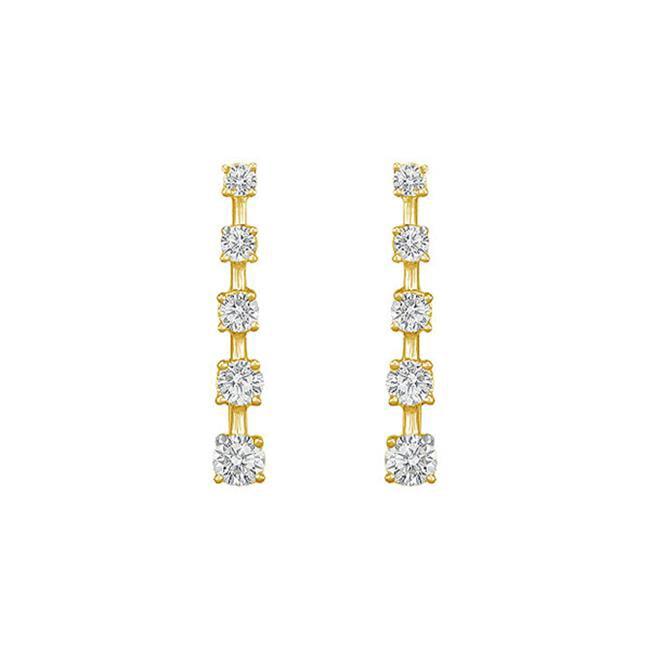 Fine Jewelry Vault UBER1605AGVYCZ CZ Journey Earrings, 18K Yellow Gold Vermeil - 2 CT CZs, 10 Stones