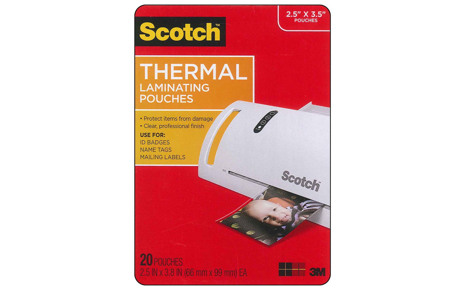 "Scotch Thermal Laminator Pouches 3 Mil 20//pkg-4/""x6/"""