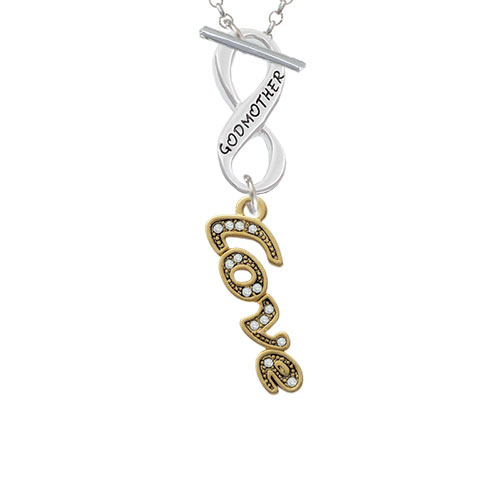Gold Tone Script ''Love'' with Clear Crystals Godmother Infinity Toggle Chain Necklace