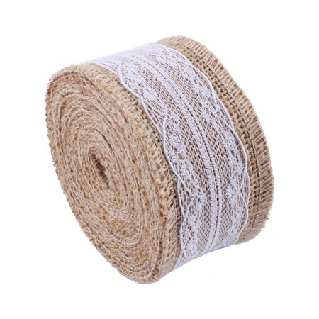 Natural Jute Burlap Hessian Ribbon with Lace Trims Tape Ribbon Rustic DIY Crafts Wedding Decorations for Home Garland(5M) - Lace Ribbon Bulk
