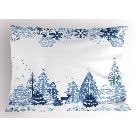 Christmas Snow Scenes (Winter Pillow Sham Winter Scene with Deer Frozen Trees and Snow Christmas Season Pine Trees Bushes, Decorative Standard Size Printed Pillowcase, 26 X 20 Inches, Blue White, by)