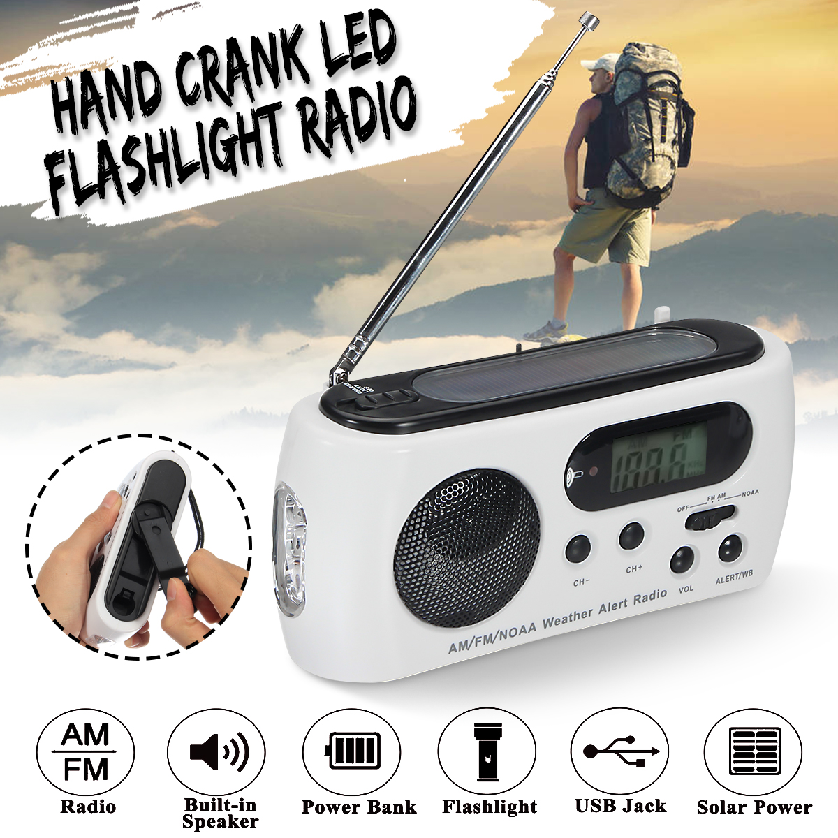 Portable Emergency Radio Solar Hand Crank LED Flashlight Torch Phone Charger AM FM NOAA Weather Radio Receiver Telescopic Antenna