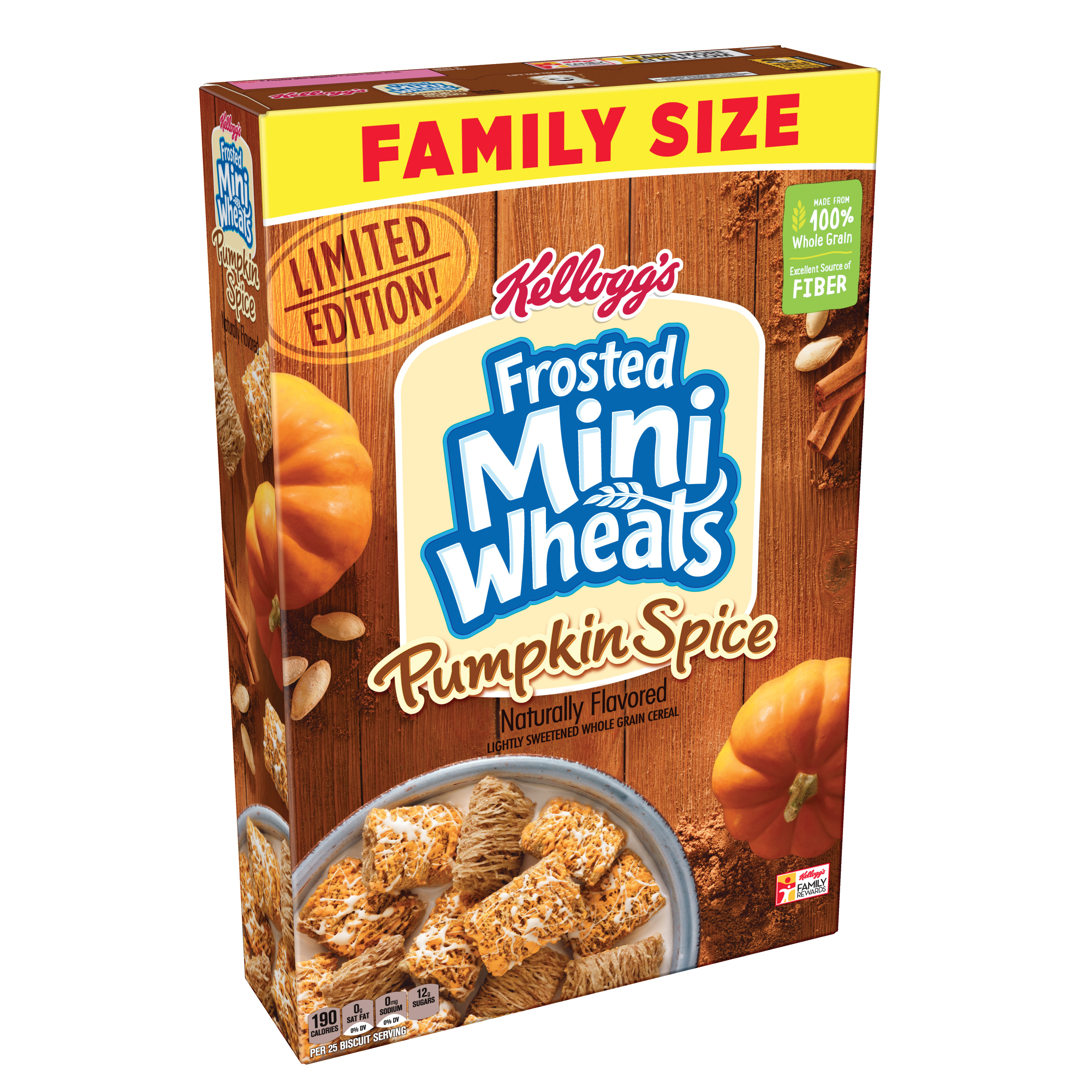 Kellogg's Frosted Mini Wheats Pumpkin Spice Cereal 21 Oz