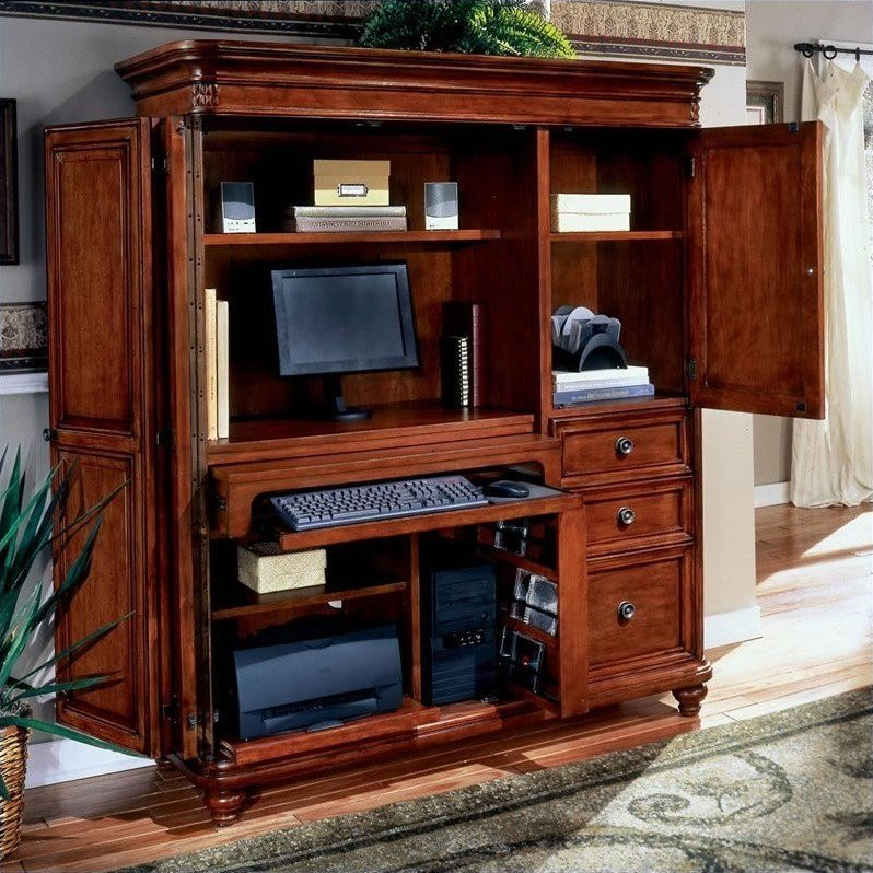 DMi Antigua Wood Computer Armoire In Cherry