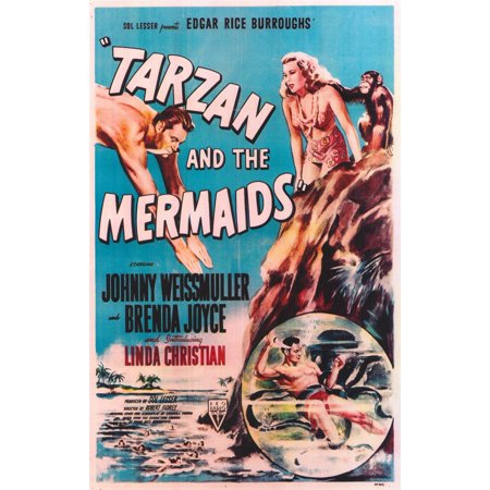 Tarzan and the Mermaids (1948) 11x17 Movie Poster - Tarzan Halloween