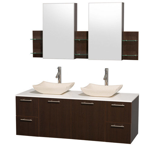 Wyndham Collection Amare 60 inch Double Bathroom Vanity in Gray Oak with White Man-Made Stone Top with Carrera Marble Sinks, and Medicine Cabinets