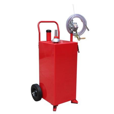 UBesGoo 30 Gallon Portable Fuel Transfer Gas Can Caddy Storage Gasoline Tank Red w/ Rotary Pump, Wheel, and 8 Feet Hose for Gasoline Oil Diesel Fluid (Fuel Transfer Tank Toolbox)