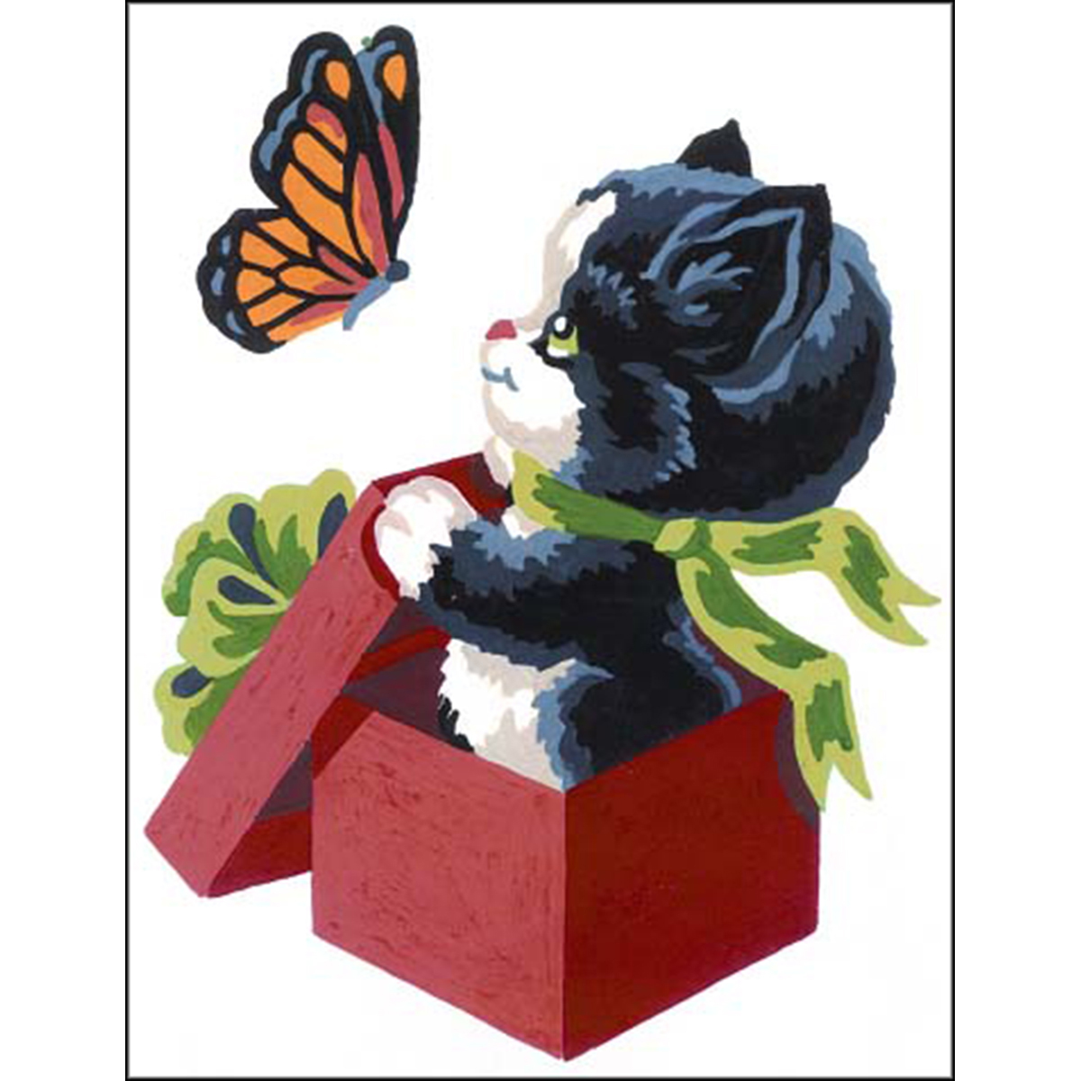 Collection D'Art Stamped Needlepoint Kit 20X25cm-Kitten And Butterfly