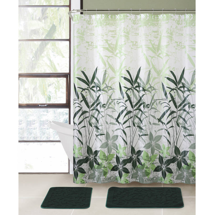 VCNY Home Bamboo Leaf 15-Piece Bath in a Bag Set, Shower Curtain and Bath Rugs Included