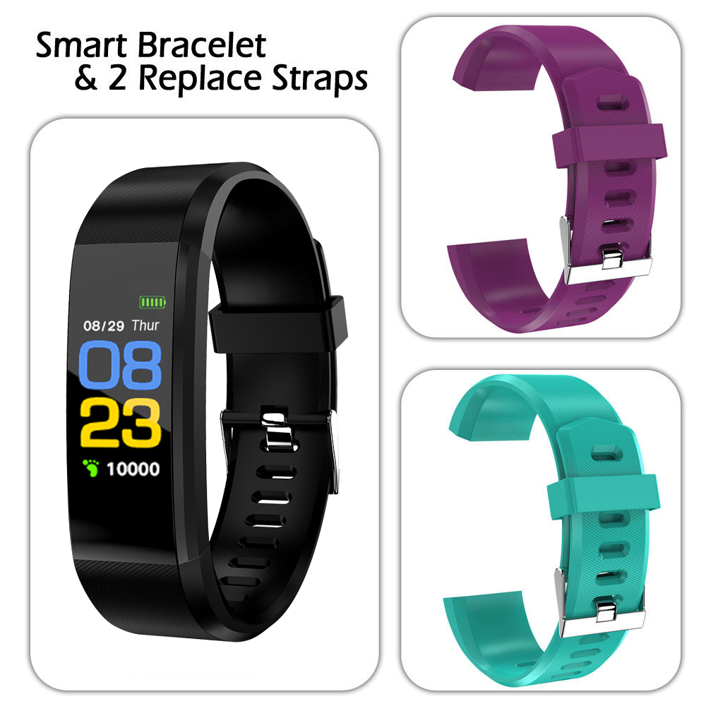 Activity Tracker with 2 Free Watchbands,iClover Watch Wrist Band Fitness Bluetooth Smart Bracelet Watch Wrist Band IP67 Waterproof Sports Fitness Tracker (Black/Purple/Tiffany Blue)
