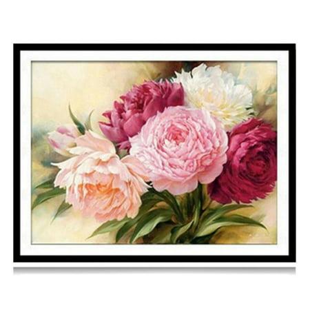 - KABOER Peony Flowers 5D Diamond Painting Embroidery Cross Stitch DIY Kit