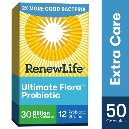 Renew Life Adult Probiotic - Ultimate Flora Extra Care Probiotic Supplement - 30 Billion CFU  - 50 Vegetarian Capsules Culturelle Probiotic Dietary Supplement Capsules