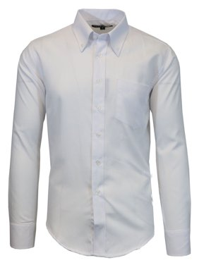 6a5e83479490 Product Image Mens Long Sleeve Oxford Dress Shirt White Casual Button Down