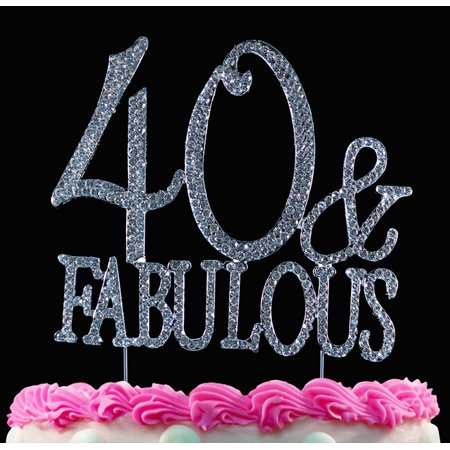 40th Birthday Cake Topper 40 and Fabulous Bling Cake Topper