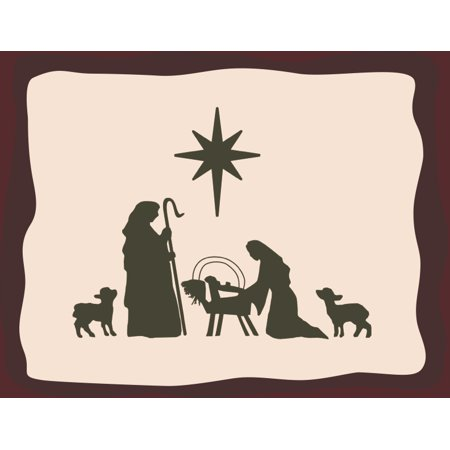 Nativity Scene Christmas Decoration Wall Hanging Art Print Motivational Inspirational Poster - Christmas Scene Decorations