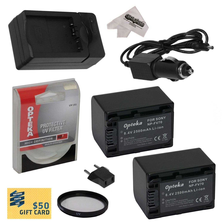 2 Opteka NP-FV70 2500mAh Ultra High Capacity Li-ion Battery Packs, Charger for Sony PJ710, PJ710V, PJ760, PJ760V, PJ790, PJ790V Camcorder Includes UV Filter,  Cleaning Cloth
