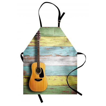 Music Apron Acoustic Guitar on Colorful Painted Aged Wooden Planks Rustic Country Design Print, Unisex Kitchen Bib Apron with Adjustable Neck for Cooking Baking Gardening, Multicolor, by Ambesonne - Bake On Paint