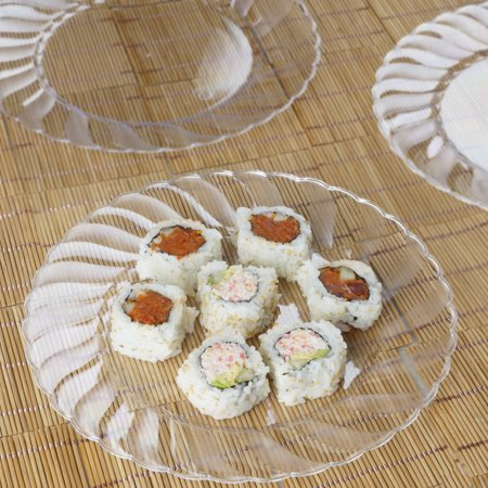 BalsaCircle Disposable Plastic Round Plates for Wedding Reception Party Buffet Catering Tableware